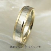 hammered 5mm two tone wedding band, artisan handmade