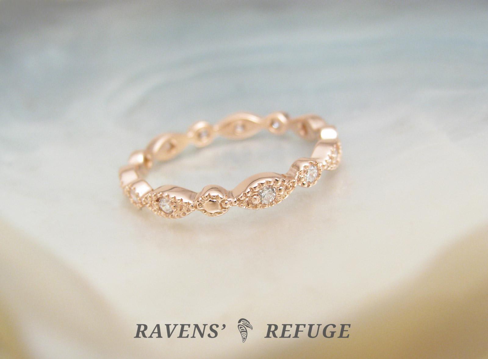 Bead And Eye Wedding Ring Beaded Eternity Band Ravens