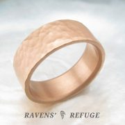 wide hammered ring – 8mm rustic wedding band