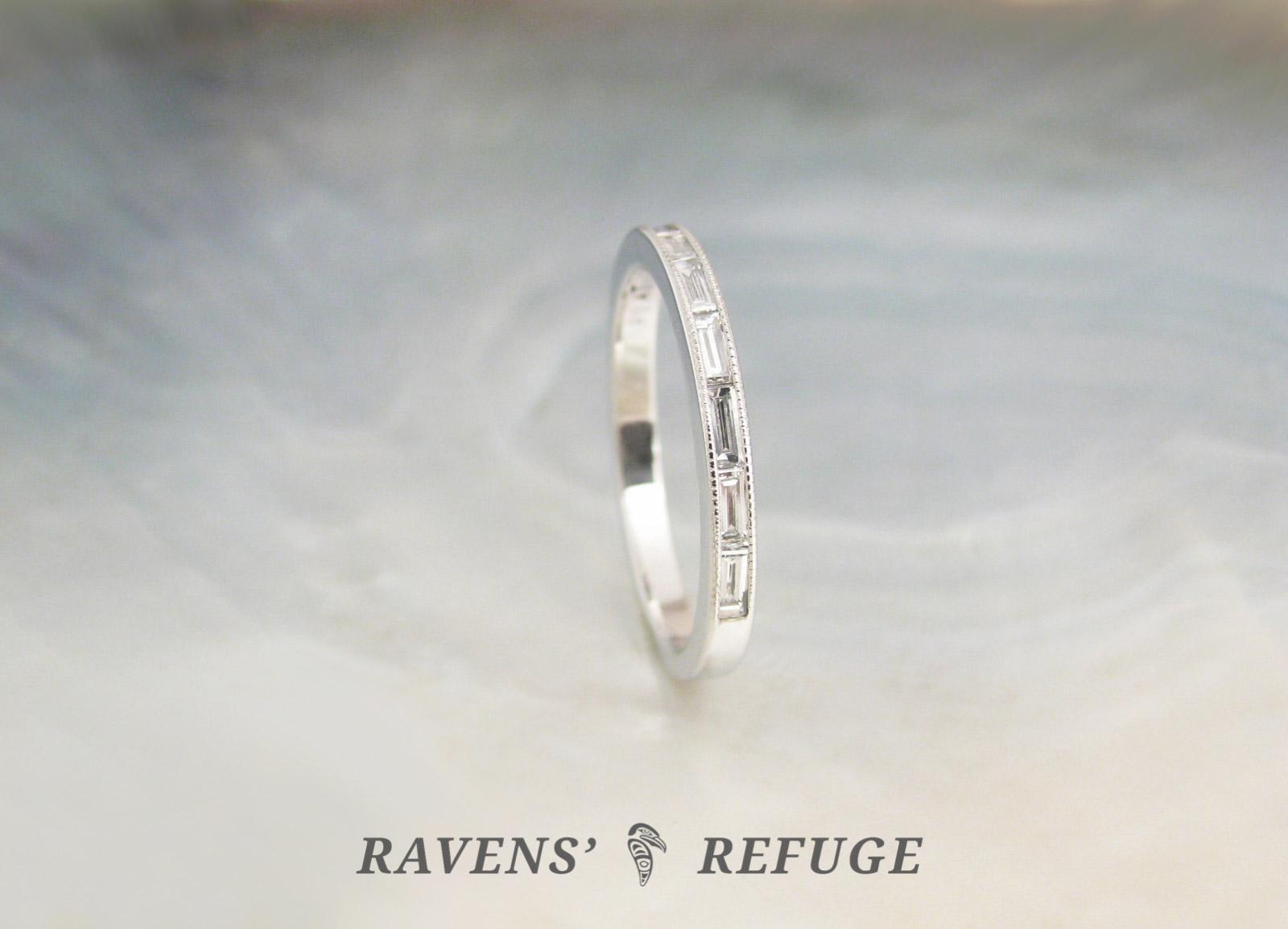 4827823811395d ... handmade platinum baguette diamond ring – dainty wedding band, ...