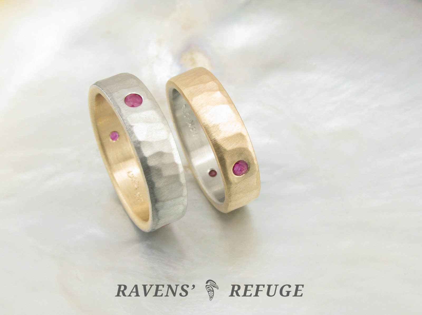 unique wedding rings his and hers two tone bands