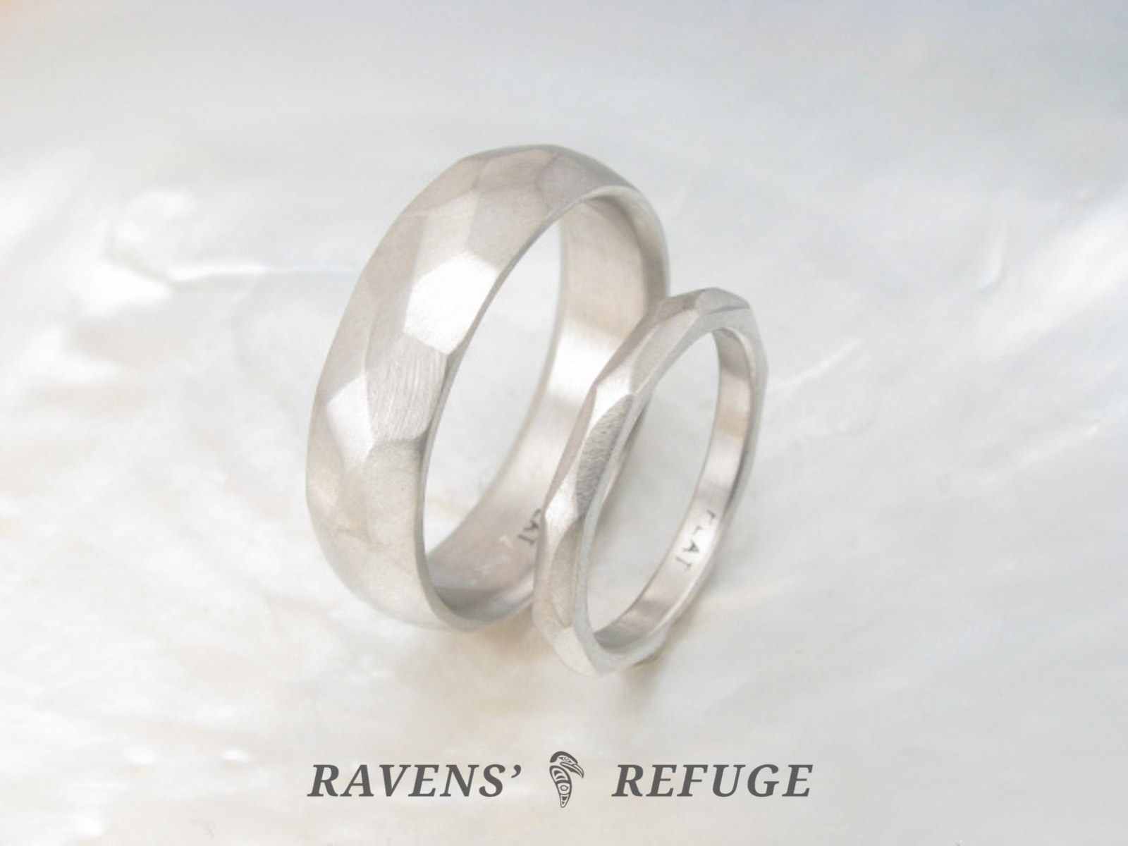 Hand Forged Platinum Wedding Band Set His And Hers Artisan Rings