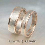 hammered two tone wedding bands, white and rose gold