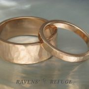 his hers rose gold wedding ring set – matching hammered bands