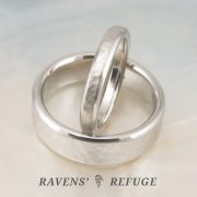 unique platinum wedding bands, hand forged and hand hammered