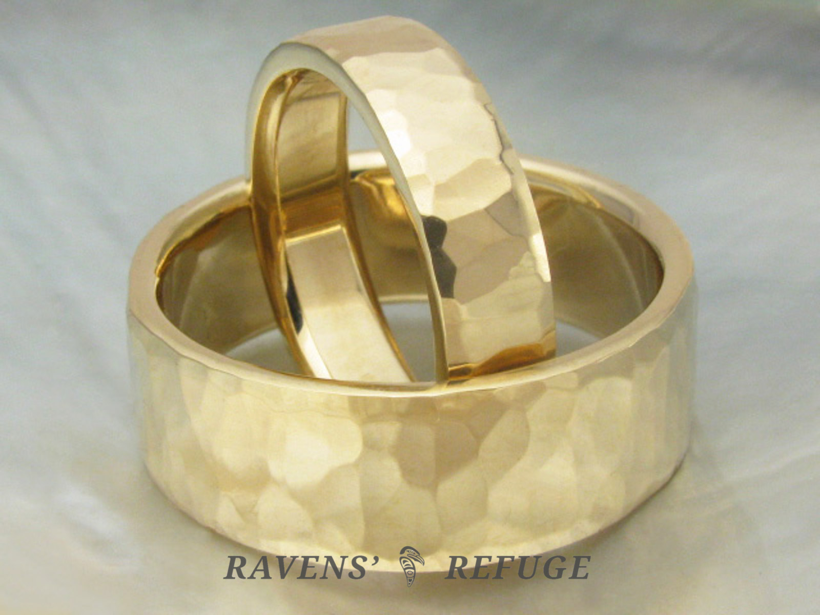 Handmade Wedding Bands Hammered Gold Rings Ravens Refuge