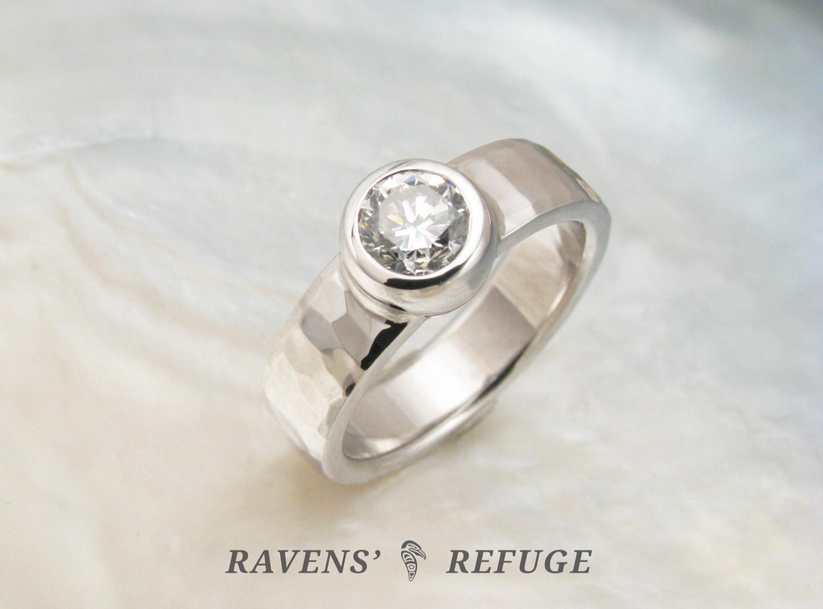 Artisan Engagement Ring With Bezel Set Diamond Ravens