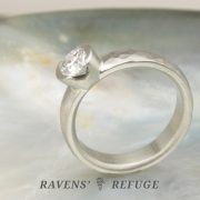 organic half bezel engagement ring – conflict free diamond in recycled gold