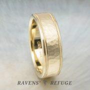 hammered milgrain wedding band for men – 7mm gold wedding ring