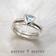 trillion aquamarine engagement ring, handmade bridal set