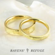 21k gold wedding bands – hand forged wedding rings