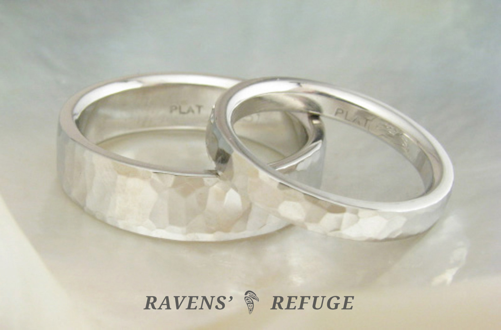 unique hammered wedding bands matching platinum rings Ravens Refuge