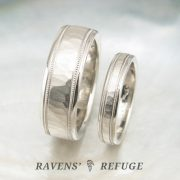 unique platinum wedding bands, hammered with milgrain