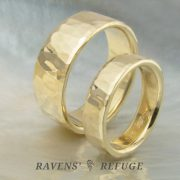 handmade wedding bands – hammered gold rings