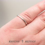slender wedding band – dainty full round hand forged ring