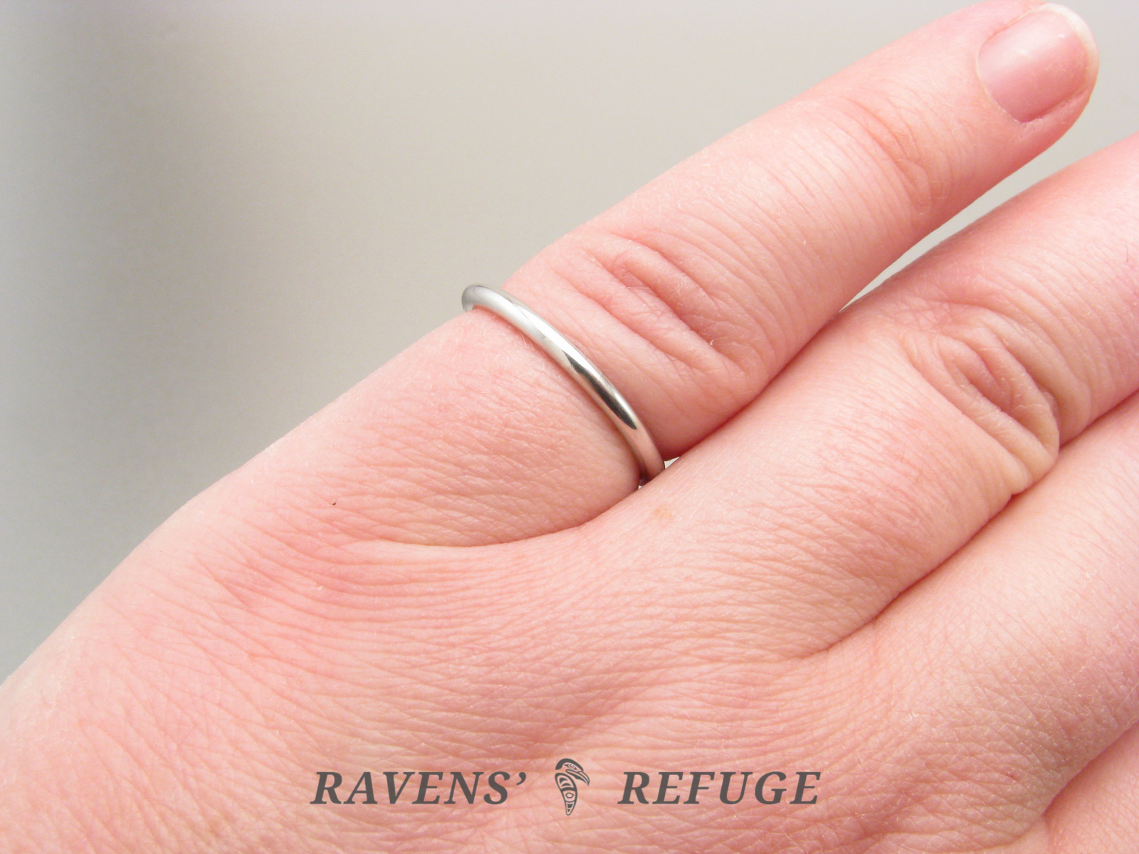 slender wedding band – dainty full round hand forged ring - Ravens ...
