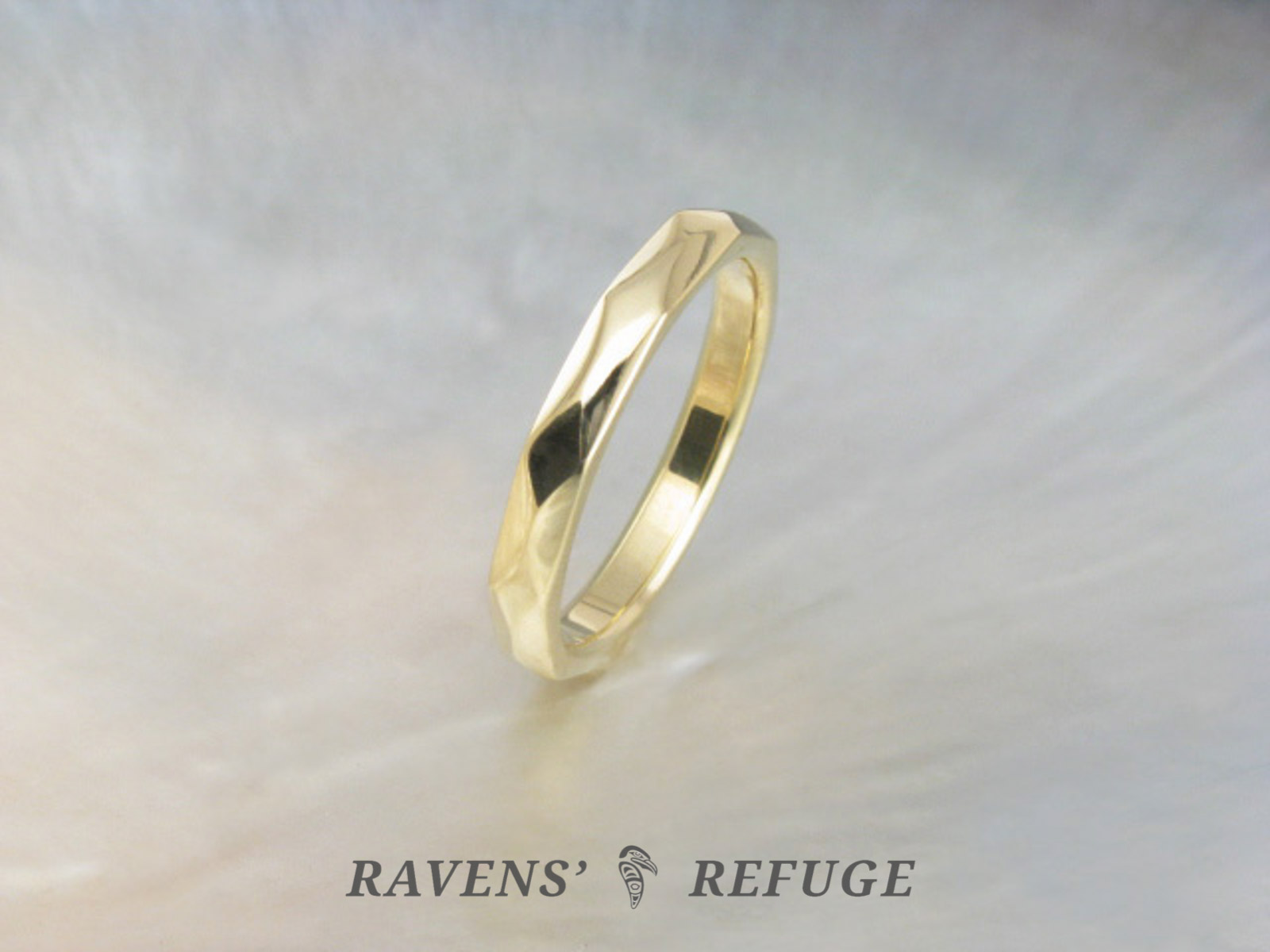 Unique Wedding Ring.Unique Wedding Band Handmade Faceted Gold Ring