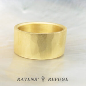 organic gold ring 10mm wide wedding band