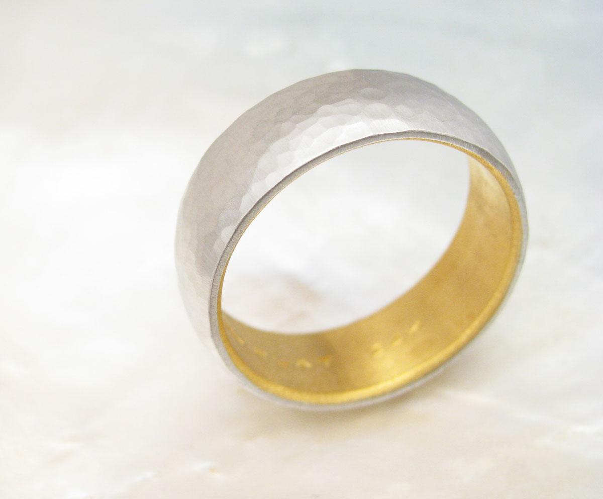 Men S Platinum Wedding Band Hammered Platinum And 24k