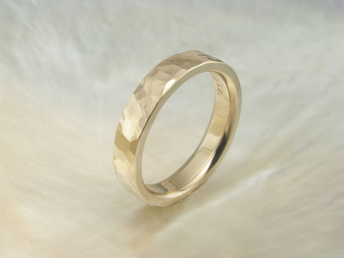 Wedding Ring Bands >> palladium white gold wedding ring – hand hammered wedding band - Ravens' Refuge