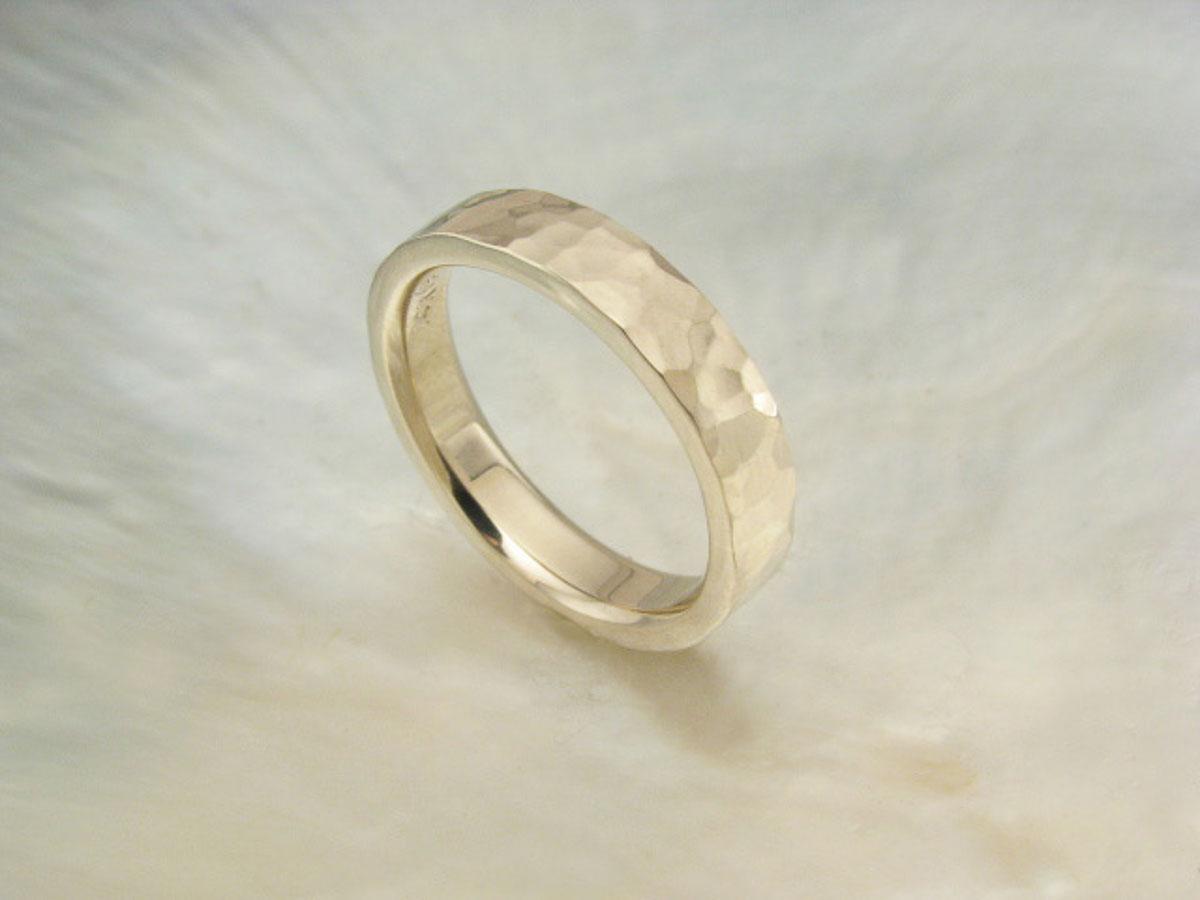 Palladium White Gold Wedding Ring Hand Hammered Wedding