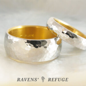 platinum and 24k gold wedding rings with hammered finish