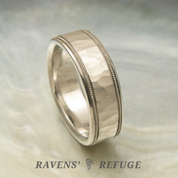 7mm platinum men's wedding band, hammered with milgrain