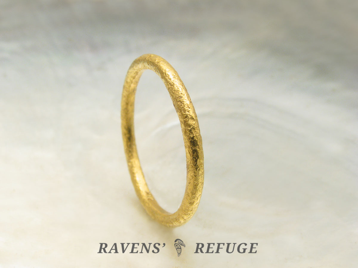 Textured 21k Gold Stacking Ring Unique Wedding Band